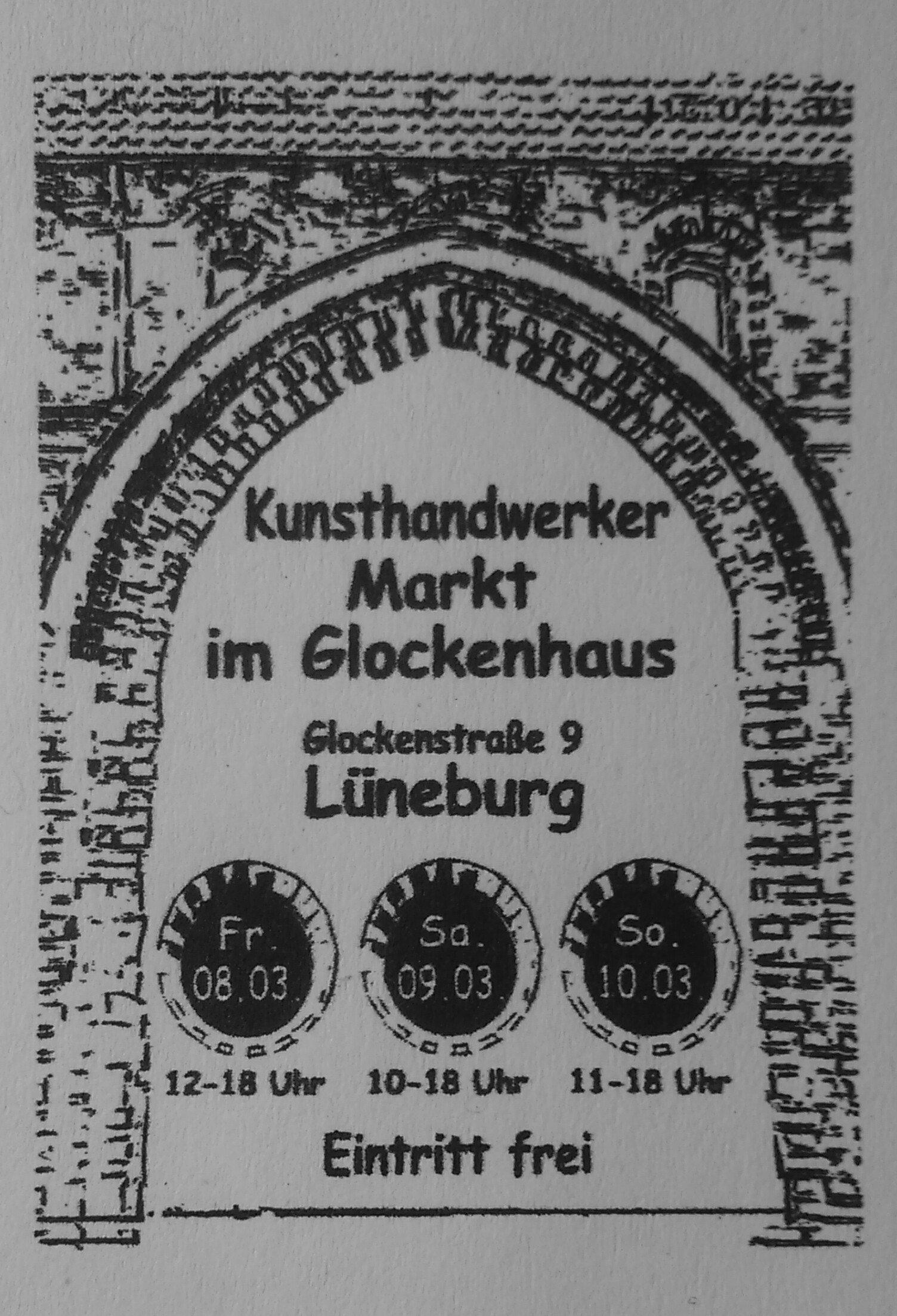 Veranstaltungsplakat  für Lüneburger Kunsthandwerker Markt im Glockenhaus2019