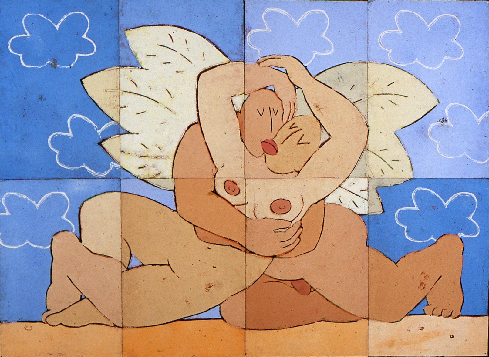 Ein himmlischer Kuss, 2017, Linoldruck