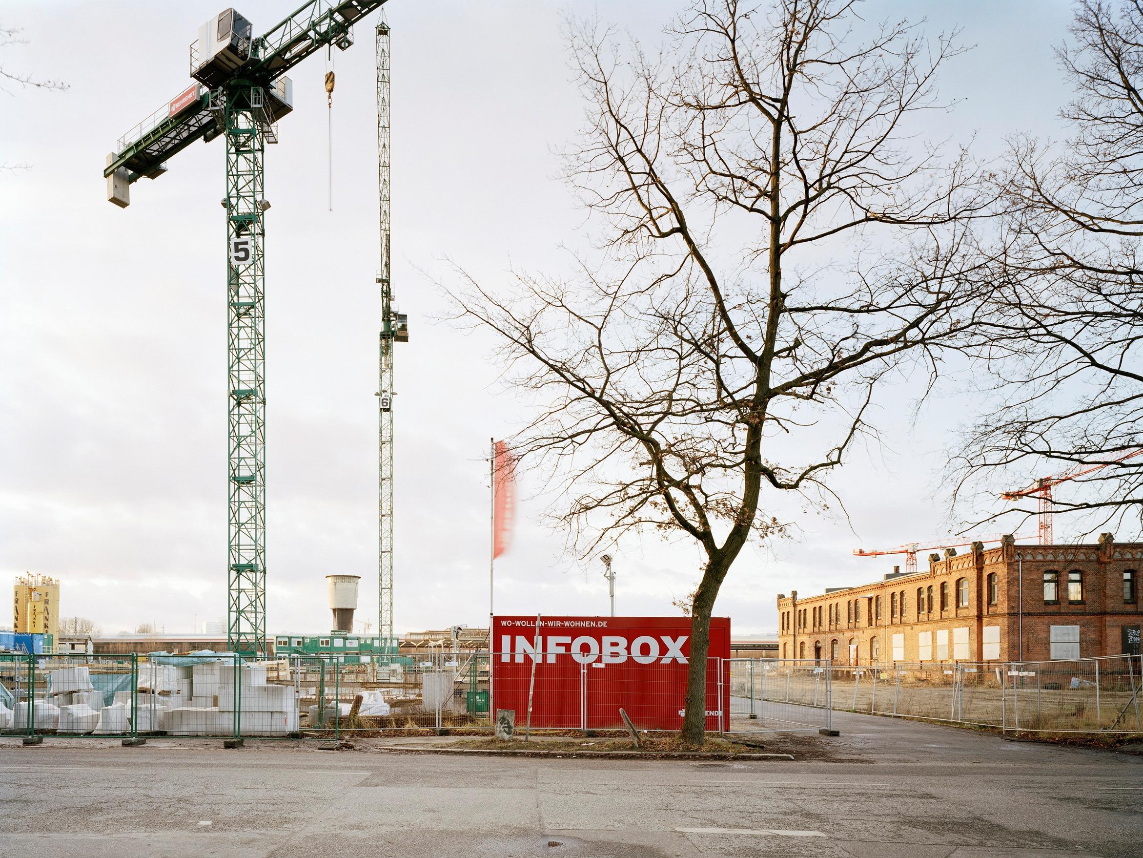 Infobox auf der Baustelle der neuen Mitte Altona 2017