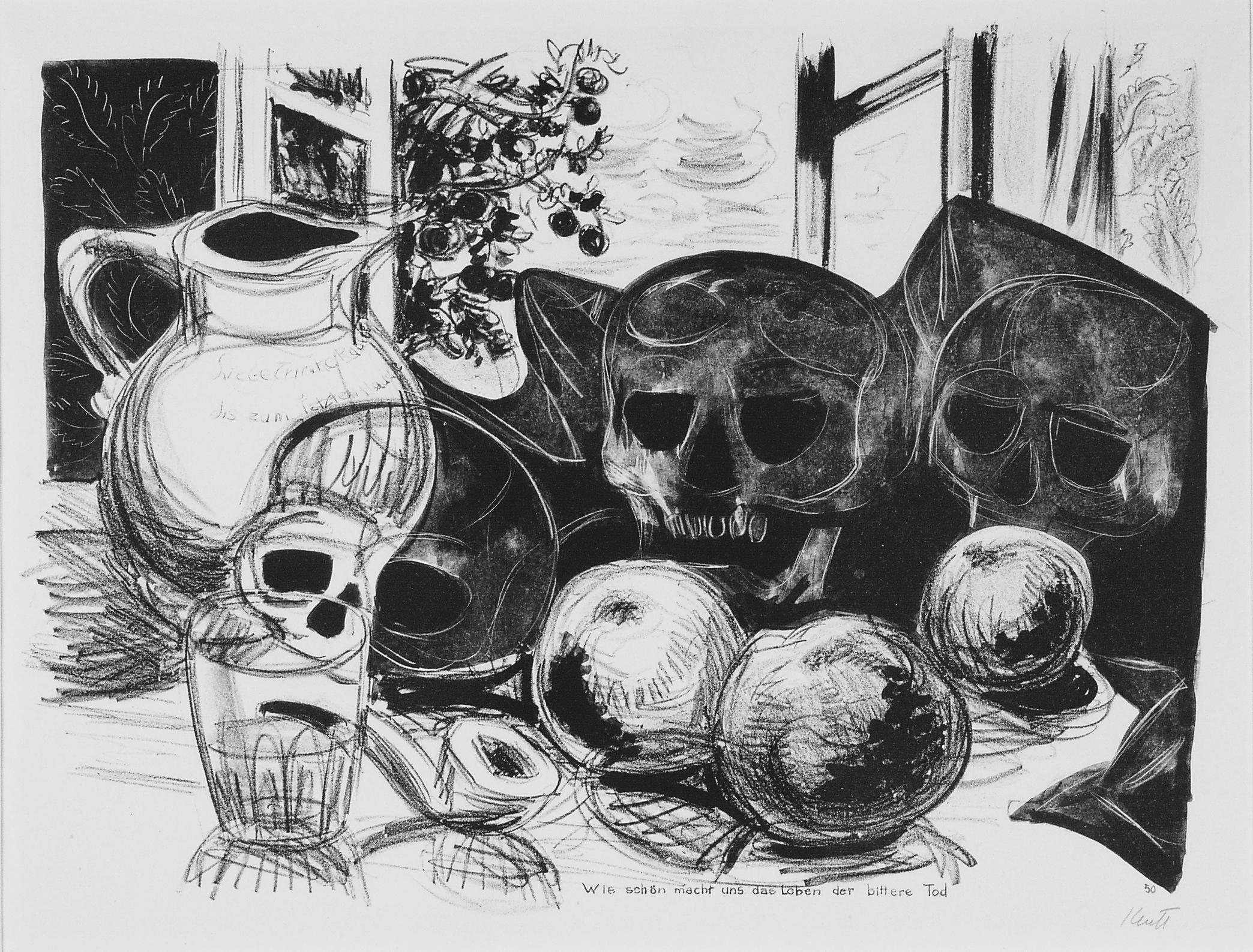 Karl Kluth, Wie schön macht uns das Leben der bittere Tod, 1950, Lithografie, 34 x 46 cm