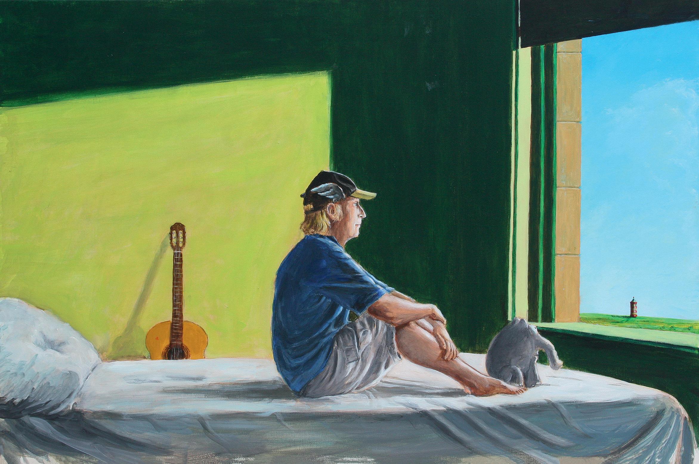 Otto Waalkes (*1948) nach Edward Hopper (1882-1967), Sitting in the Morning Sun, 2018, Acryl auf Leinwand, 60 x 90 cm, Leihgabe der Walentowski Galerien